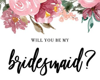 Will You Be My Bridesmaid Card 4x6 Instant Download