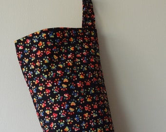 Grocery Bag Holder - Puppy Paw Prints in Color
