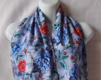 Ladies Dining Scarf - The Adult Bib That Doesn't Look Like A Bib - Blue, Red and Teal Floral