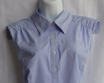 Ladies Dining Blouse - The Adult Bib That Doesn't Look Like A Bib - Classic Blue and White Pinstripe