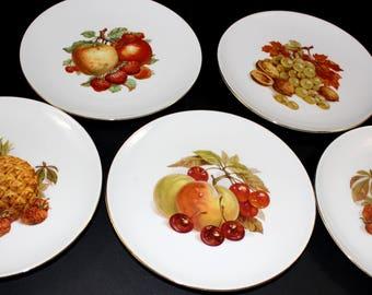 Vintage Roslau Winterling Bavaria Germany Fruit Plates Gold Trim Set of Five