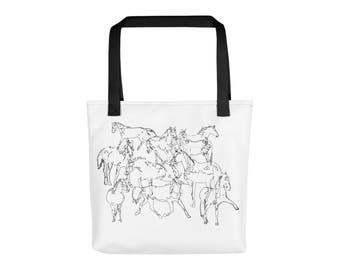 Horses line art tote bag