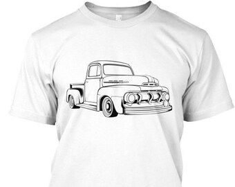 Ford 51 F-1 Truck Mens Graffic T-Shirt Hot Rod Antique Classic Muscle Car Graphic Tee, Mens Tee Gift for Dad