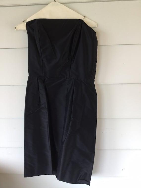 Vintage Little Black Strapless Dress, Black Satin