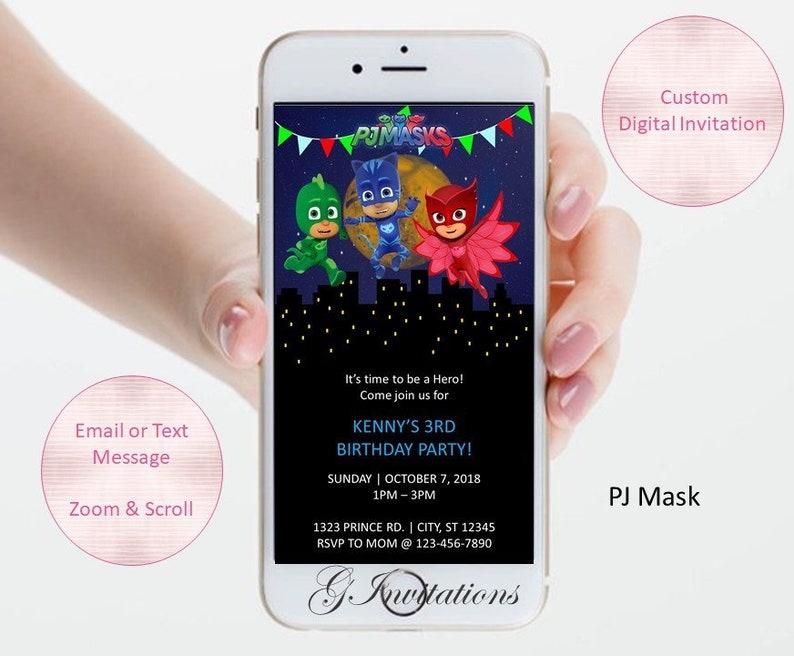 PJ Mask Text Invitation