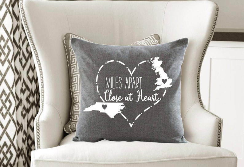 ORIGINAL Miles Apart Close at Heart Custom Pillow,Reunion Gift, Friend Gift, Mother's Day Gift, Father's Day Gift,Christmas Gift,Family Gift