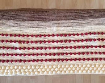 Hand Made Crochet Blanket Chunky Throw Neutral Cream, Brown with Deep Red Accents and Bobble Stitch Pattern