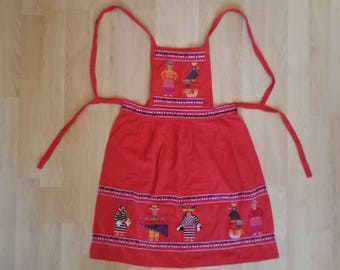 Apron Embroidered Folk Art Handmade Red Full Apron with Pockets Embellishments and Patterns Men Women Birds Tribal