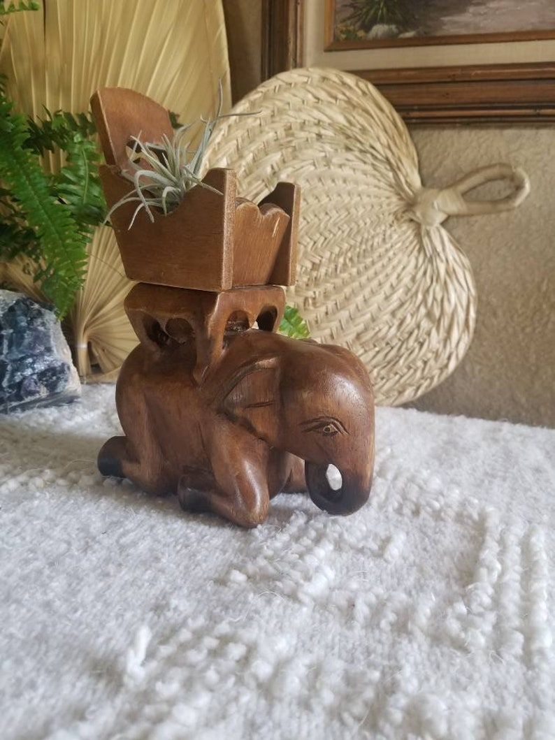 Carved Wooden Elephant Kneeling With Wood Bench Chair On Back Vintage Hand Carved Plant Holder Jewelry Holder
