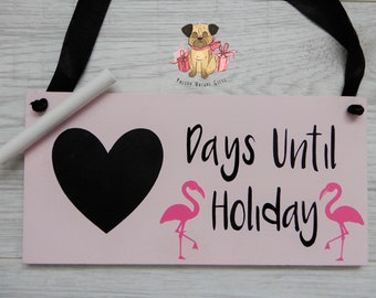 Holiday Countdown Plaque/holiday/travel/flamingo/countdown/traveller/holiday/cute/decor/home/