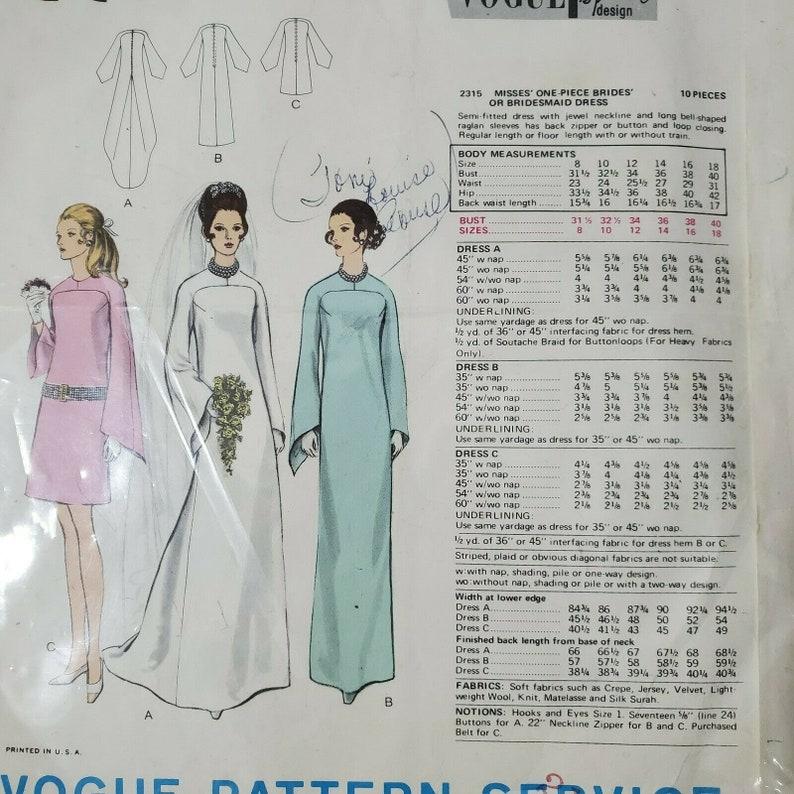 Vintage Vogue Bridal Sewing Pattern 2315 1960s Bride Bridesmaid Wedding Dress Size 14