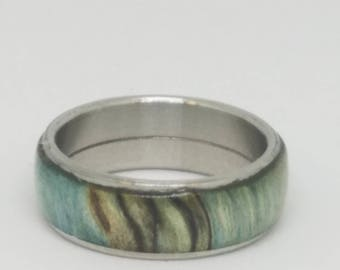 Maple Burl Wood Ring with Stainless core.  Size 9
