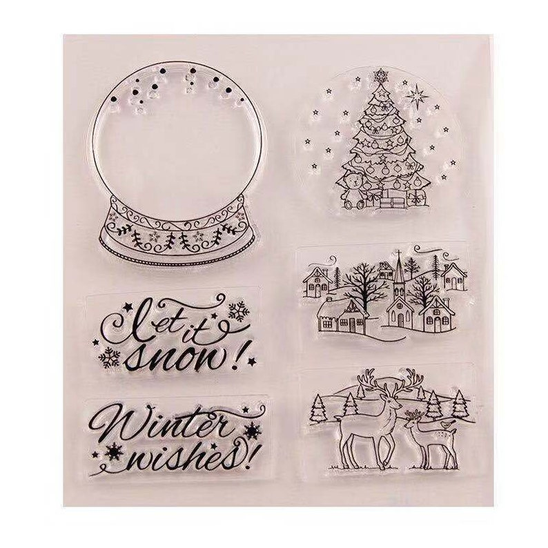Crystal Ball Clear Stamptree And House Clear Transparent Stamp Deers Rubber Stampwinter Wishes Clear Stamp Christmas
