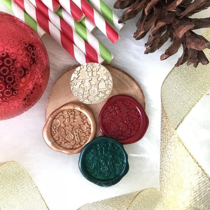 Merry Christmas  gift wax  Seal StampGift Wax Stamp Kit pine tree wnd snowflake Wax Stampsmall bell Wax sealing kitwedding wax stamp