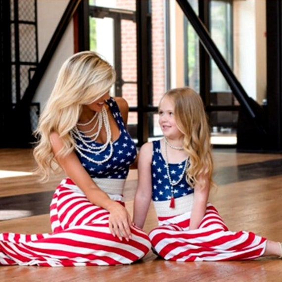 Mother and Daughter Stars Stripes Dress Mommy/&Me Matching US Flag Outfit Clothes
