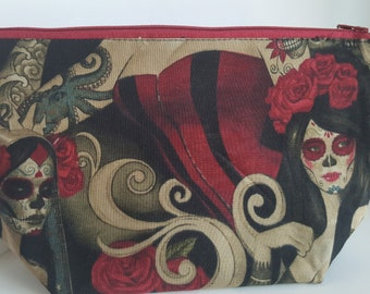 """Alexander Henry's """"Las Elegantes"""" toiletry bag, pin-up tattoo girls large zipper pouch, Rockabilly boxed cosmetic bag"""