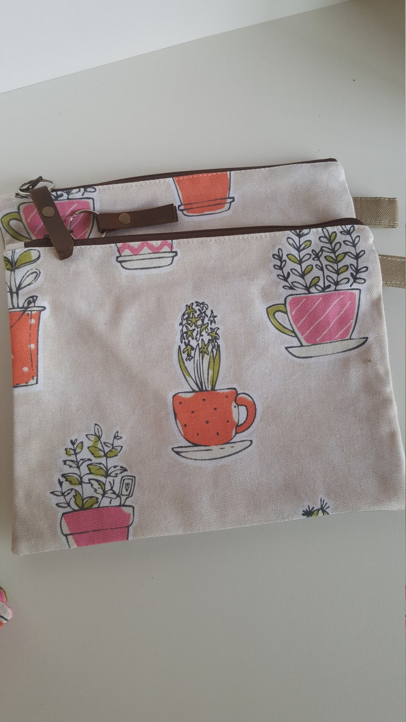 Plant sale canvas extra large zipper pouches in creme