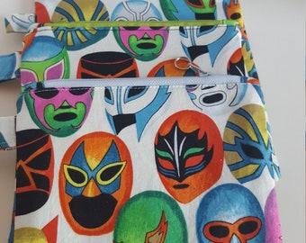Lucha Libre pouch, Mexican wrestling masks zipper pouch