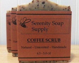 Coffee Scrub Soap - All Natural Soap - Facial Soap - Unscented Soap - Cold Process Soap - Vegan - Artisan - 4 Oz Bar