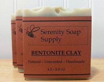 Bentonite Clay Soap - Natural Soap - Facial Soap - Unscented Soap - Cold Process Soap - Vegan - Artisan - 4 Oz Bar