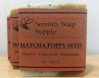Matcha Poppy Seed Soap - Natural Soap - Facial Soap - Unscented Soap - Cold Process Soap - Vegan - Artisan - 4 Oz Bar