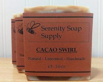Cacao Swirl Soap - Natural Soap - Facial Soap - Unscented Soap - Cold Process Soap - Vegan - Artisan - 4 Oz Bar
