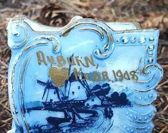 1908 Antique Victorian Milk Glass Hand Painted Playing Card Holder Auburn Nebraska