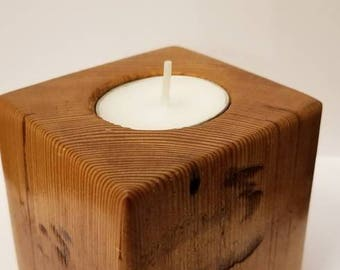 Reclaimed wood tea light holder, valentines day, gift, mothers day