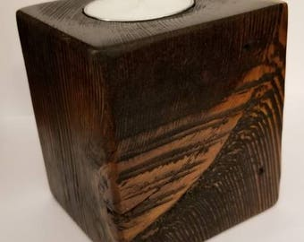Reclaimed wood tea light holder, valentines day, gift, mothers day, jacobean