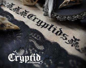 Cryptid Stitchalong (SAL) Cross Stitch Pattern - Mystery, Gothic, Cryptozoology, Victorian, Spooky, Mothman, Bigfoot, Loch Ness, Horror