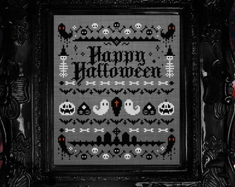 Spooky Halloween Sampler - Cross Stitch Pattern - Gothic, Ghosts, Ouija, Tombstones, Skulls, Witch, Pumpkins, Bats, Occult, Coffin