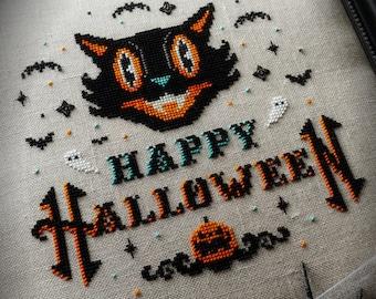 Vintage Happy Halloween - Cross Stitch Pattern - Cat, Beistle, Pumpkin, Bats, Ghosts, Primitive, Gothic, Retro, Spooky, DMC Etoile
