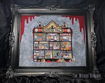 Chopping Mall Stitchalong (SAL) Cross Stitch Pattern - Mystery, Horror, Gothic, Slasher, Killer, Halloween, Spooky, Funny, Cult Classics
