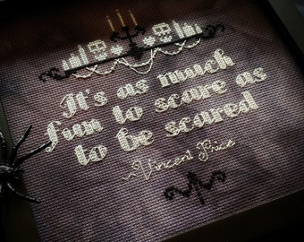 68778e0f0e Vincent Price Quote - Gothic Cross Stitch Pattern - Modern, Funny, Horror,  Classic, Icon, Vintage, Master of Horror, Halloween, Classy