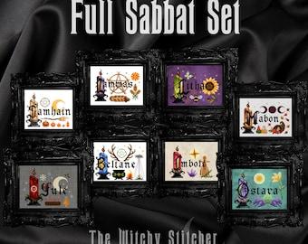 FULL Sabbat Cross Stitch Pattern Set ~ Bundle, Samhain, Yule, Imbolc, Ostara, Beltane, Litha, Lammas, Mabon, Wheel of the Year, Witch, Wicca
