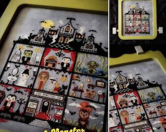 Universal Monster Stitch A Long (SAL) Cross Stitch Pattern - Mystery, Horror, Gothic, Halloween, Frankenstein, Mummy, Wolfman, Phantom