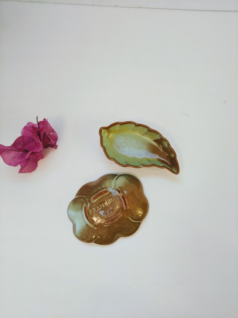 Set 2 leaf flower Miniature Frankoma pottery Art Pottery Marked USA Vintage Green and Brown Pepper Salt Cellar