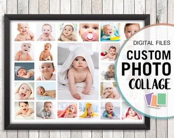 First Birthday Collage Baby Photo Personalized Gifts Custom Gift Jpg Pdf