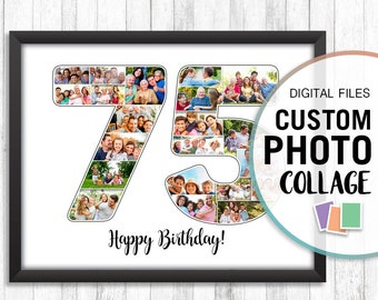 75th Birthday Gift Wedding Anniversary Mom 75 Gifts Collage Personalized Picture Photo Art