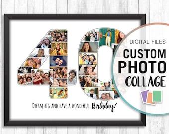 40th Birthday Collage Photo 40 Personalized Custom Anniversary Date