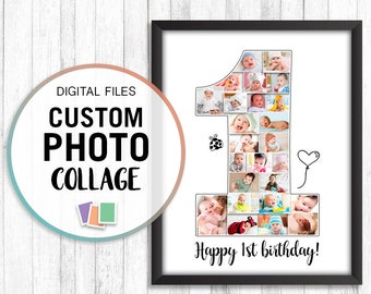 1st Birthday Photo Collage Anniversary Gift First Ideas Art