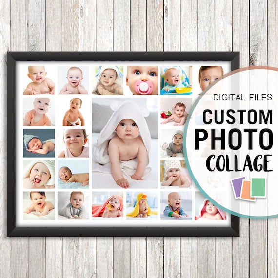 First Birthday Collage Baby Photo Personalized