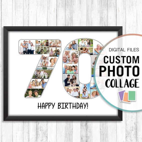 70th Birthday Photo Collage Anniversary Gift Personalized Gifts Pictures Number