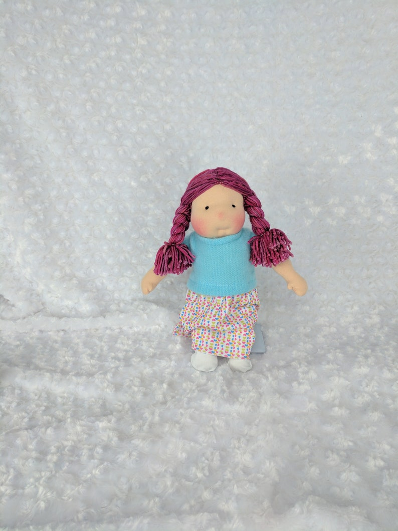 Tiny Netchie: 11 inch Waldorf Inspired Cloth Doll Handmade by image 0