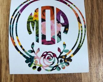 Monogram Floral Decal