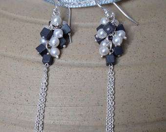 """Delicate """"bunch of grapes"""" style drop earrings with freshwater pearls & hematite cube gemstones, 925 sterling silver"""