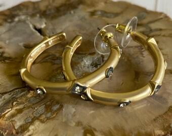 Shiloh Collection - Matte Gold Hoop Earrings | Beautiful Hoop Earrings | In Style Earrings |  1 1/2 inch Earrings | Earring Gift