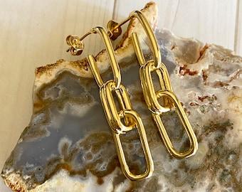 Alto Collection - Double Drop Dangle Earrings | Beautiful Paper Clip Earrings | In Style Earrings |  1 1/2 inch Earrings | Earring Gift