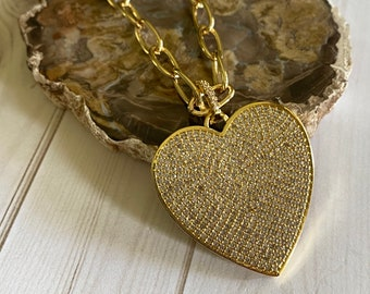 Tira Collection - Gold Chain and Heart Necklace | Beautiful Chain | In Style Necklace | Necklace Gift | Custom Size Necklace | Gold Heart