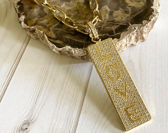 Tira Collection - Gold Chain and LOVE Dog Tag Necklace | Beautiful Chain | In Style Necklace | Necklace Gift | Custom Size Necklace